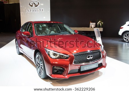 BRUSSELS - JAN 12, 2016: Infiniti Q50 hybrid car on display at the Brussels Motor Show. - stock photo