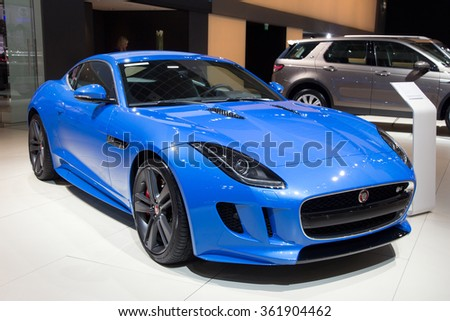 BRUSSELS - JAN 12, 2016: Jaguar F-Type coupe on display at the Brussels Motor Show.