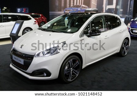 BRUSSELS - JAN 10, 2018: Peurgeot 208 GT Line car shown at the Brussels Motor Show.