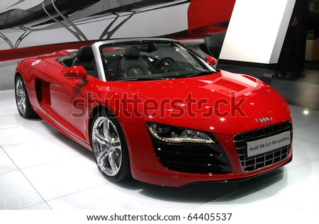 BRUSSELS - JANUARY 17: Audi R8 5.2 RSI quattro sport car shown on display at Euro motors 2010 exhibition on January 17, 2010 in Brussels, Belgium. - stock photo
