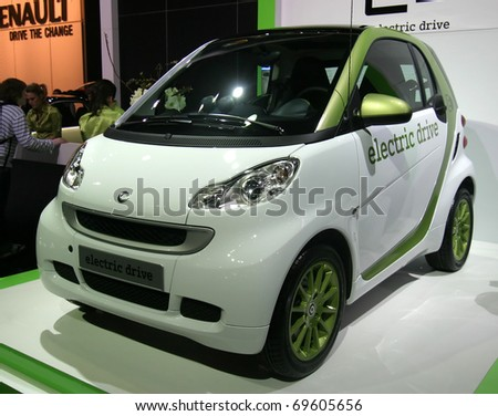 BRUSSELS - JANUARY 23: Smart ED electric car on display at Euro motors 2011 exhibition on January 23, 2011 in Brussels, Belgium. - stock photo