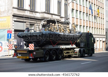 BRUSSELS - JULY 21: Special forces boat during the military parade on the Belgium National Day. Photo taken on July 21, 2016 in Brussels, Belgium.