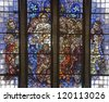 BRUSSELS - JUNE 22: Last supper of Christ. Detail from windowpane of National Basilica of the Sacred Heart built between years 1919 - 1969 on June 22, 2012 in Brussels. - stock photo