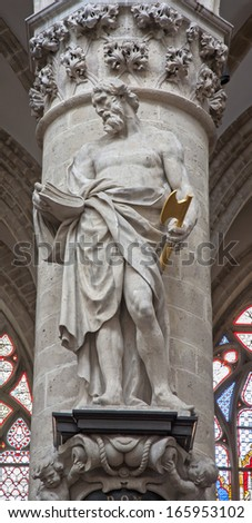 BRUSSELS - JUNE 22: Statue of st.Thadeus or Jude the apostle by Jeroom Duquesnoy de Jonge (1644) in baroque style from gothic cathedral of Saint Michael and Saint Gudula on June 22, 2012 in Brussels.