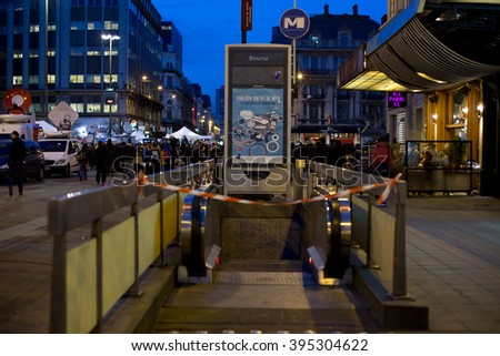 BRUSSELS - MARCH 23: Metro station Bourse is closed after the terrorist attacks that took place on March 22. Photo taken on March 23, 2016 in Brussels, Belgium.