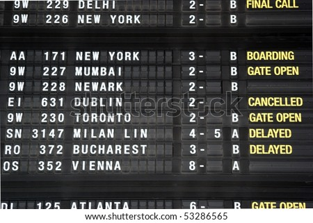 BRUSSELS - MAY 04: Display that shows a canceled flight to Dublin from the Brussels International Airport due to the volcanic activity May 4, 2010, Brussels, Belgium. - stock photo