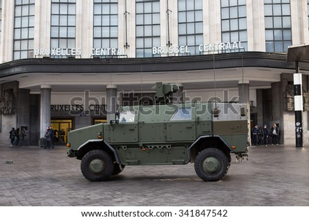 BRUSSELS - NOVEMBER 21: Belgium Army and police secured the Central Station - Main Railway station of Brussels on November 21, 2015 in Brussels, Belgium. Brussels is on full security alert. - stock photo