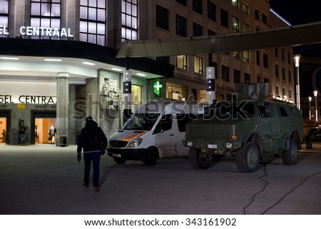 BRUSSELS - NOVEMBER 23: Belgium Army and police secured the Central Station - Main Railway station of Brussels on November 23, 2015 in Brussels, Belgium. Brussels is on full security alert. - stock photo