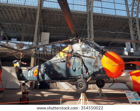 BRUSSELS-OCT. 1: A Sikorsky S 58  historic, antique  helicopter   seen on display at  Royal Museum of  Armed Forces and  Military History in Cinquantenaire Park Brussels, Belgium on Oct. 1, 2015. - stock photo