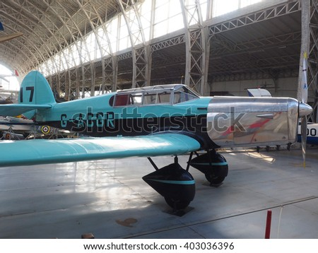 BRUSSELS-OCT. 1: An antique military Percival Gull airplane is seen on display at the Royal Museum of the Armed Forces and of Military History in Cinquantenaire Park Brussels, Belgium on Oct. 1, 2015. - stock photo