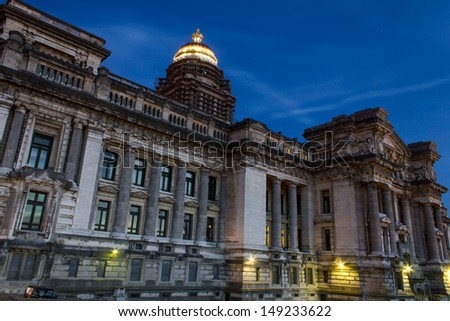 Brussels Palais de Justice in the evening - stock photo