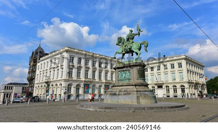 BRUSSELS - SEPTEMBER 15:  Equestrian statue of Godfrey of Bouillon standing in the center of Royal Square, taken on September 15, 2014 in Brussels, Belgium - stock photo