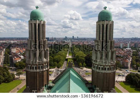 Brussels skyline from National Basilica of Koekelberg.
