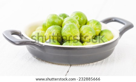Brussels Sprouts - Cooked brussels sprouts on a white background. - stock photo