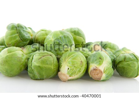 Brussels sprouts vegetables in studio with white background