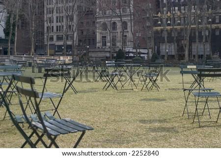 Bryant Park Chairs - New York, NY - stock photo