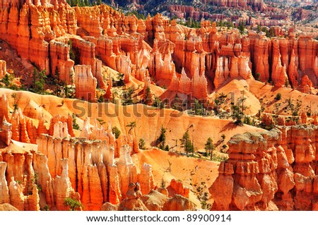 Bryce Canyon Hoodoos at sunset point, Utah, USA - stock photo