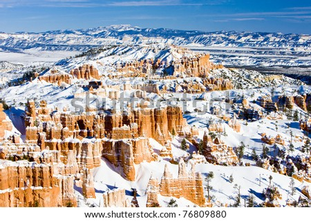 Bryce Canyon National Park in winter, Utah, USA - stock photo