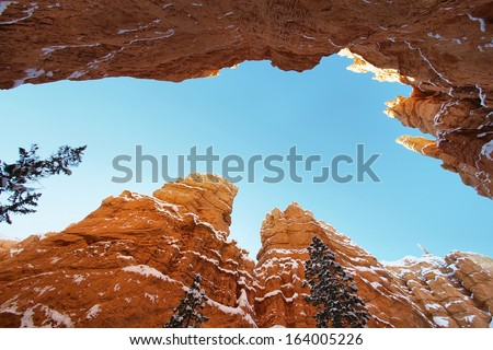 Bryce canyon panorama with snow in Winter - stock photo