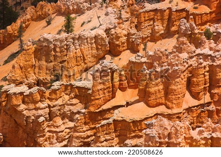 Bryce Canyon rock formation. Sandstone vertical rock formation in Bryce national park. - stock photo