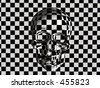 Bryce creation, a skull in 3D with a patterned grid. - stock photo