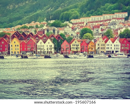 Bryggen in Bergen, Norway . Vintage picture - stock photo