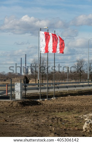 BRZEGI, POLAND - FEB 9, 2016:  Brzegi near Cracow , where will take place in July 2016 the mass on the occasion of  World Youth Day with the participation of the pope and 2 millions pilgrims