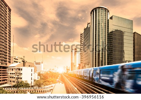 BTS Skytrain rails in Bangkok,Thailand - stock photo
