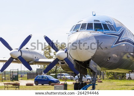 """BUBAPEST-MAY 7: MALEV Aircraft Museum aircraft IL 18  the Hungarian airline """"Malev"""", Permanent International Aerospace Exhibition May 7, 2014 in Budapest Int. Airport Hungary.  - stock photo"""