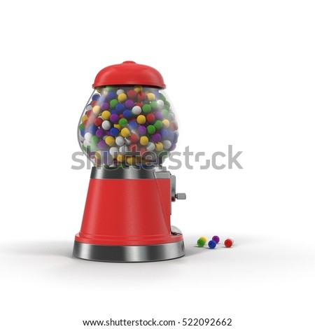 Bubble gum vending machine isolated over white. 3D illustration