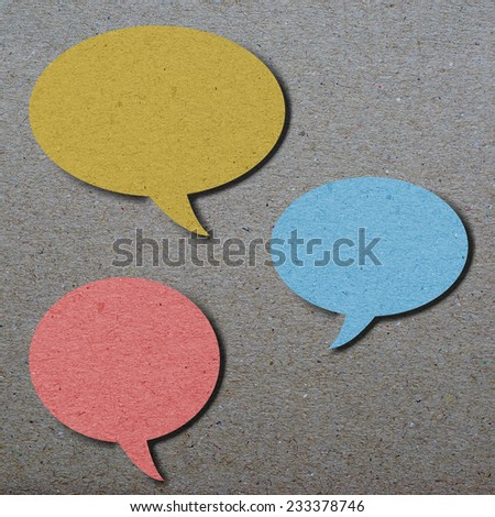 bubble speech, colorful Paper collage on paper background, idea concept - stock photo