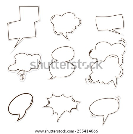 bubble speech Object Hand Drawn Sketch Doodle - stock photo