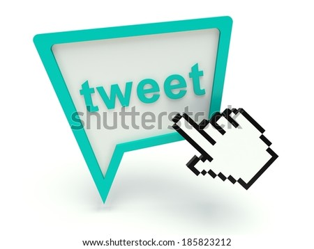 Bubble speech sign 'tweet' with hand shaped cursor. 3d render illustration. - stock photo