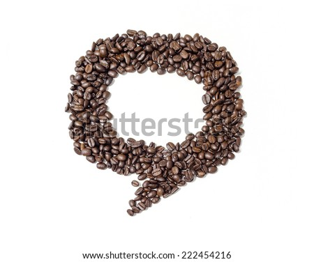 Bubble talk of coffee beans on white background. - stock photo