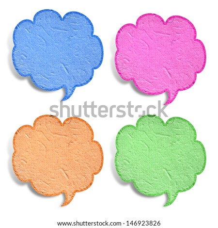 bubble talk tag recycled paper stick on white background - stock photo