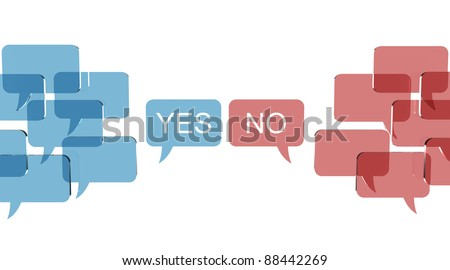 Bubble talks with two opposite opinions - stock photo