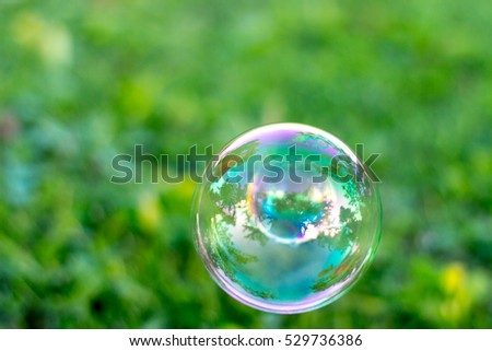 Bubbles on green grass natural background.
