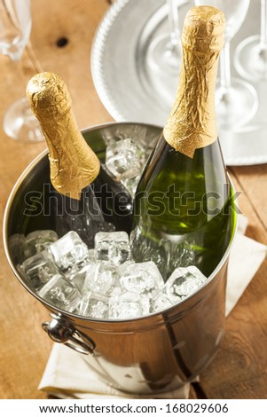 Bubbling Champagne in a Glass for a Celebration