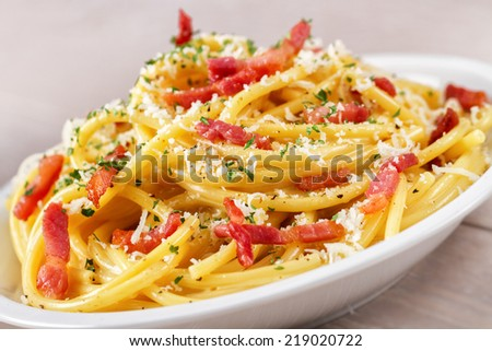 Bucatini Carbonara - stock photo
