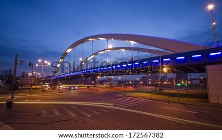 Bucharest city at night - stock photo