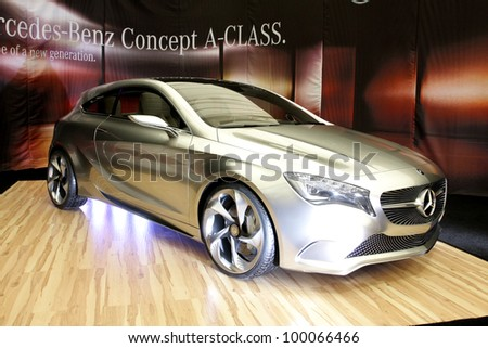 "BUCHAREST, ROMANIA - APRIL 5: A Mercedes-Benz A- Class Concept car is on display at the Bucharest ""Bucharest Auto Salon"" car exhibition on April 5, 2012 in Bucharest, Romania."