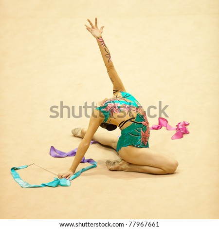 BUCHAREST, ROMANIA - APRIL 3: Alexandra Piscupescu performs during the Irina Deleanu Orange Trophy on April 3, 2011, Bucharest, Romania - stock photo