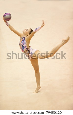 BUCHAREST, ROMANIA - APRIL 3: anna czarniecka performs during the Irina Deleanu Orange Trophy on April 3, 2011, Bucharest, Romania - stock photo