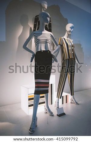 Bucharest, Romania - April 18, 2016: Interior of a clothing shop in Bucharest city center.