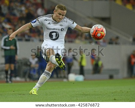 BUCHAREST, ROMANIA - AUGUST 20, 2015: Alexander Toft Soderlund pictured during the Europa League game between FC Steaua Bucharest and Rosenborg BK at National Arena. Rosenborg won, 3-0. - stock photo