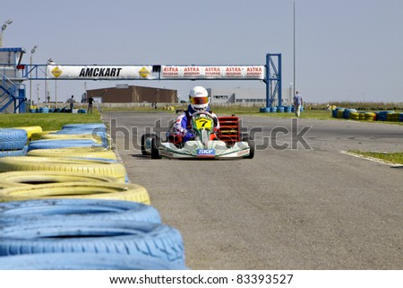 BUCHAREST, ROMANIA - AUGUST 21: Bianca Anton, number 7, competes in National Karting Championship, Round 5, on August 21, 2011 in Bucharest, Romania.