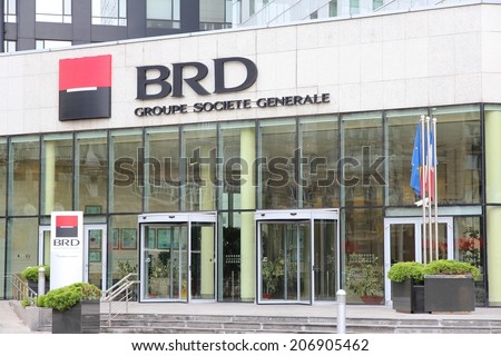 BUCHAREST, ROMANIA - AUGUST 19, 2012: BRD Bank of Societe Generale group branch in Bucharest. BRD is the 2nd largest bank by assets (about 8.7bn EUR) in Romania. - stock photo