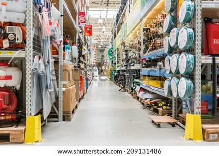 BUCHAREST, ROMANIA - AUGUST 05, 2014: Tools And Utensils Hypermarket Aisle. - stock photo