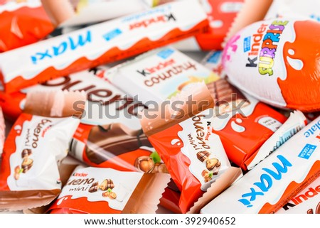 BUCHAREST, ROMANIA - DECEMBER 04, 2015: Kinder Chocolate is a confectionery product brand line of Italian confectionery multinational Ferrero.