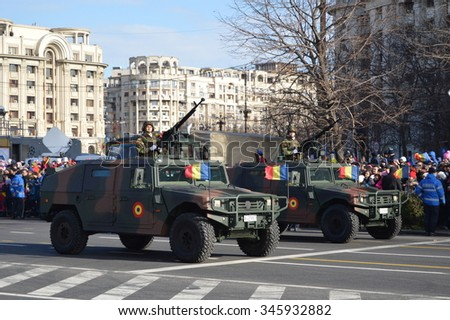 Bucharest, Romania, 01 december 2015 : National Day of Romania. Romanian military parade with aircraft and combat vehicles